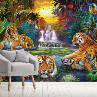 Family at the Jungle Pool Wallpaper Wall Murals