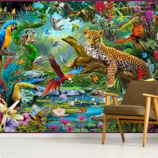 Leopard In Jungle Wallpaper Wall Murals