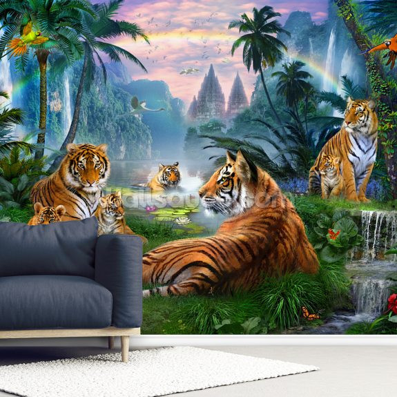 Temple Lake Tigers wall mural room setting