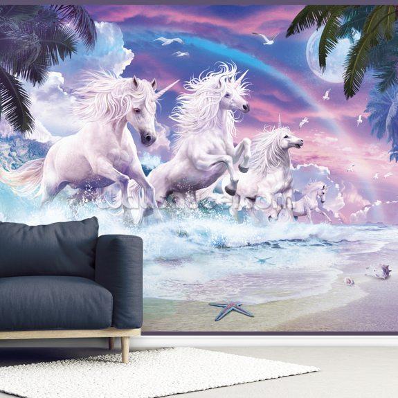 Unicorn Waves Wallpaper Wallsauce Us