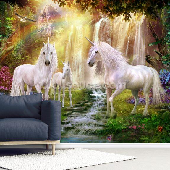 waterfall glade unicorns wallpaper