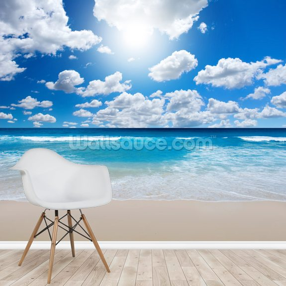 Ocean Skies mural wallpaper room setting