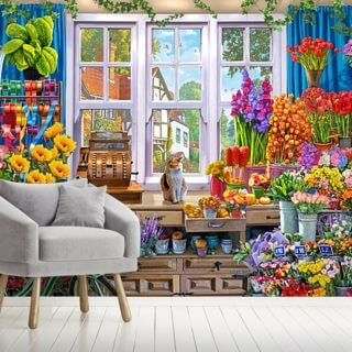 Flower Shop Wallpaper Wall Murals