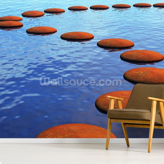 Stepping Stones in Water mural wallpaper room setting