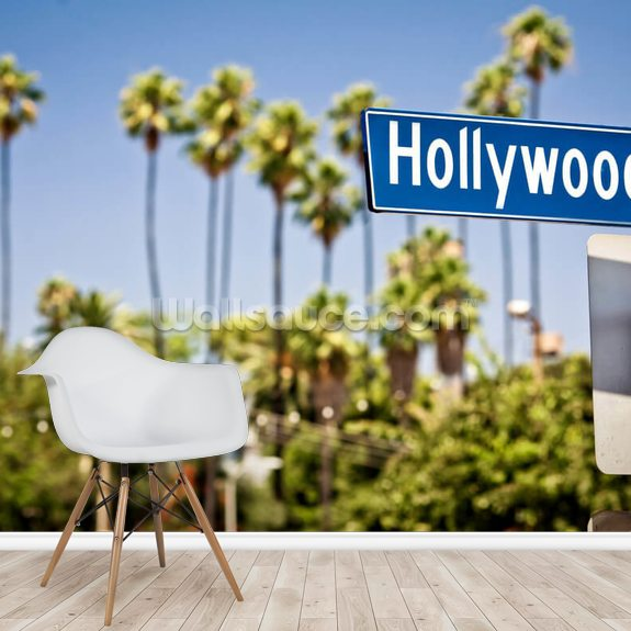Hollywood Sign wallpaper mural room setting