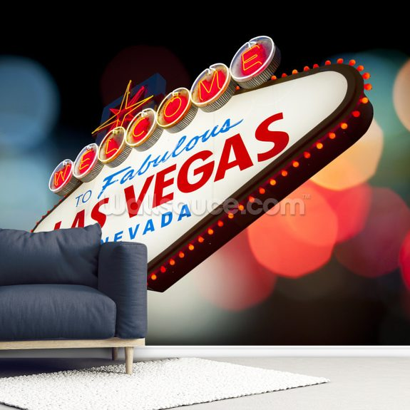 Welcome to Las Vegas Sign wallpaper mural room setting