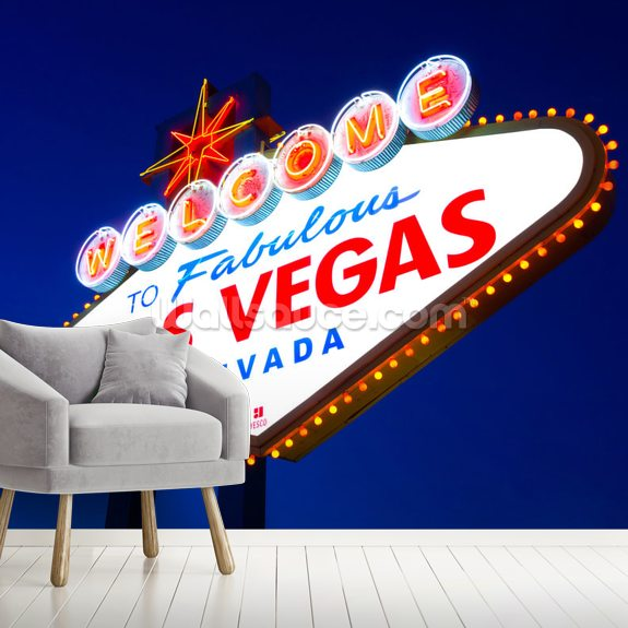 Las Vegas Sign wall mural room setting