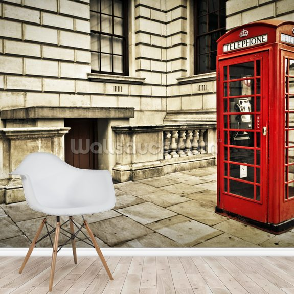 Telephone Box London wallpaper mural room setting