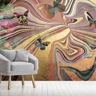 Rose Agate Butterflies Wallpaper Wall Murals