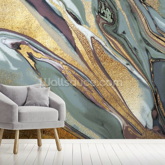 Sage Gold Agate mural wallpaper room setting