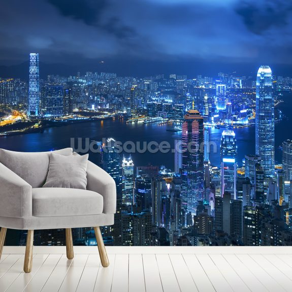 Hong Kong Victoria Harbour mural wallpaper room setting