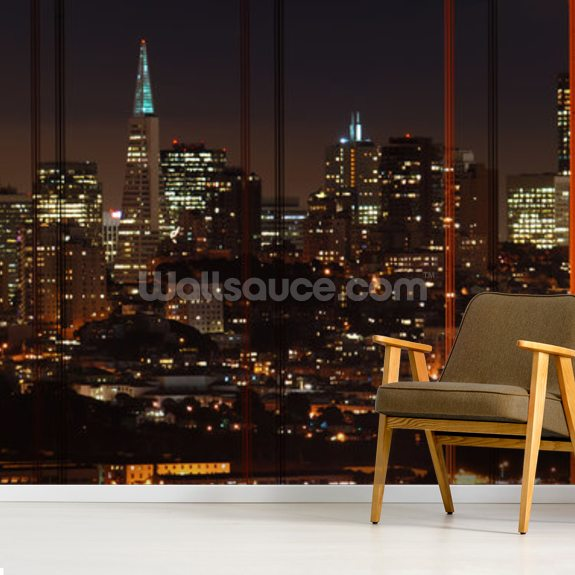 Golden Gate Bridge Panoramic mural wallpaper room setting