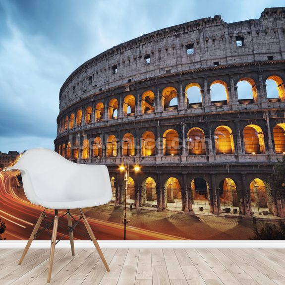 Coliseum at Night wallpaper mural room setting