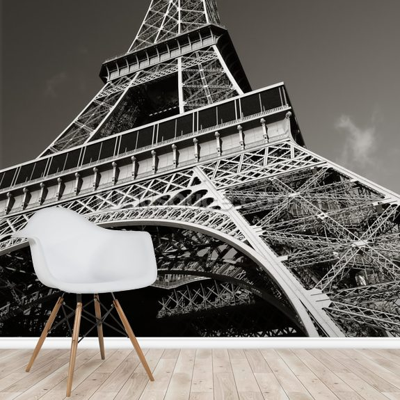 The Eiffel Tower from Below wallpaper mural room setting