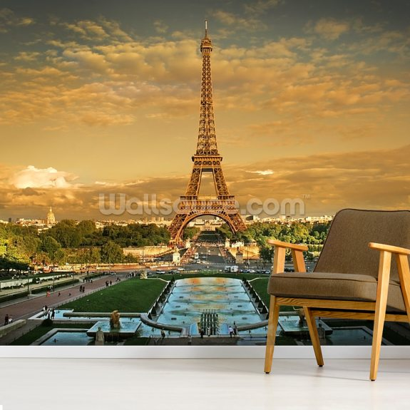 Eiffel Tower Paris wallpaper mural room setting