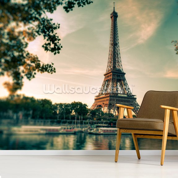 Tour Eiffel Paris France mural wallpaper room setting