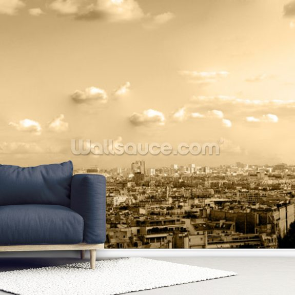 Paris Skyline Panoramic wall mural room setting