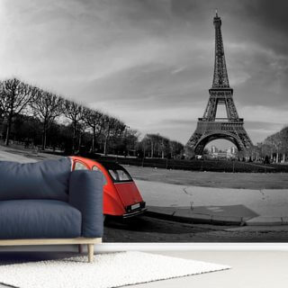 Eiffel Tower and Old Red Citroen