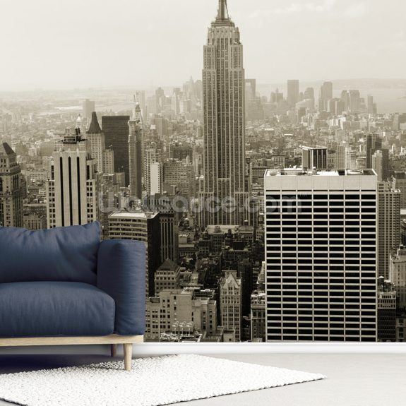 Empire State mural wallpaper room setting