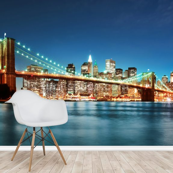 Brooklyn Bridge at Night wall mural room setting