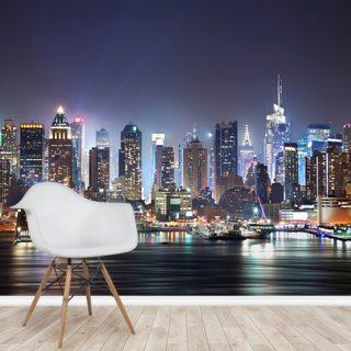 New York Manhattan Skyline Night Wallpaper Mural Wallsauce Au