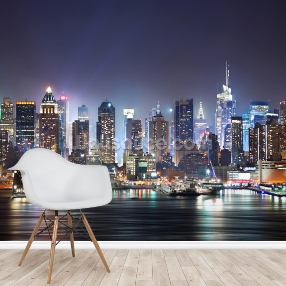 New York - Manhattan Skyline at Night wallpaper mural room setting