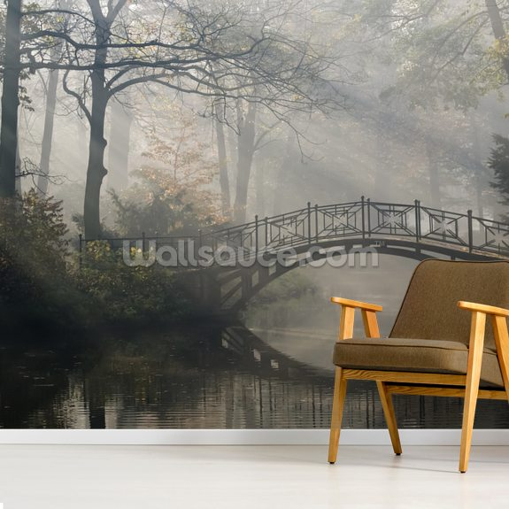 Old bridge in misty Autumn park wall mural room setting