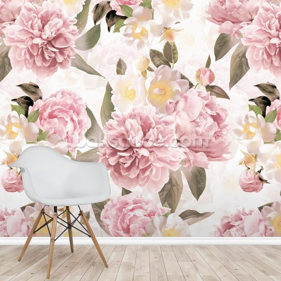 Vintage Peonies Wallpaper Wallsauce Uk