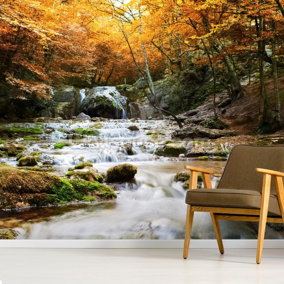 Natural Autumn Waterfall wallpaper mural room setting