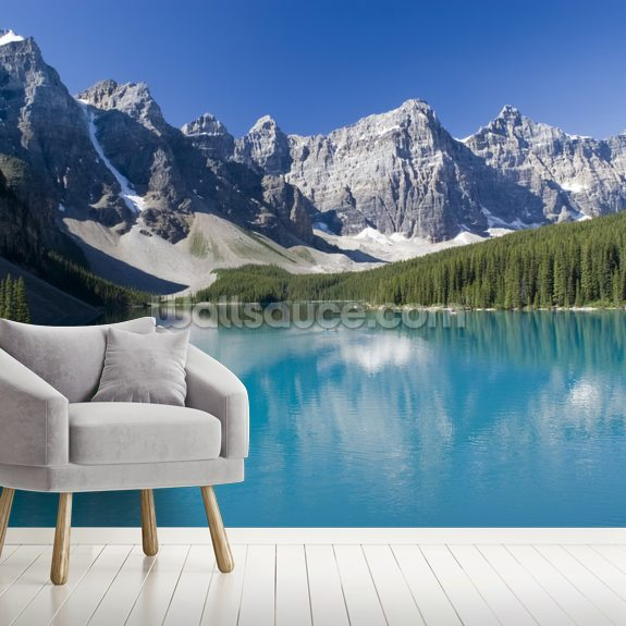Lake Moraine in Banff National Park mural wallpaper room setting