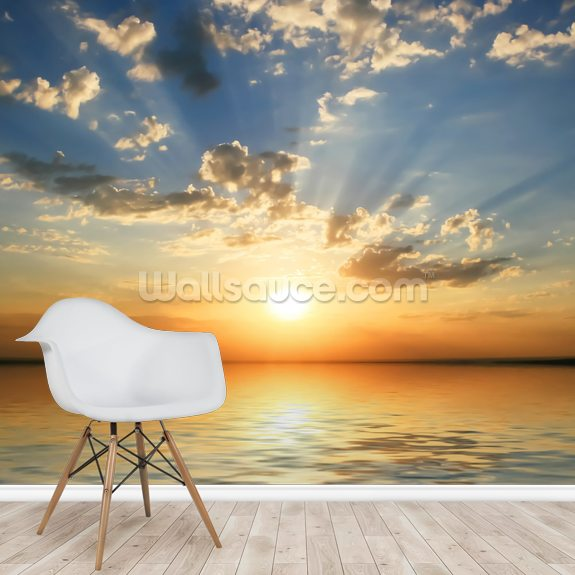 Sea View Sunset mural wallpaper room setting