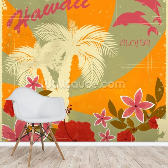 Vintage Hawaiian mural wallpaper room setting