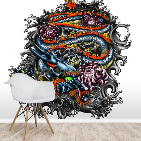 Japanese Dragon wall mural room setting
