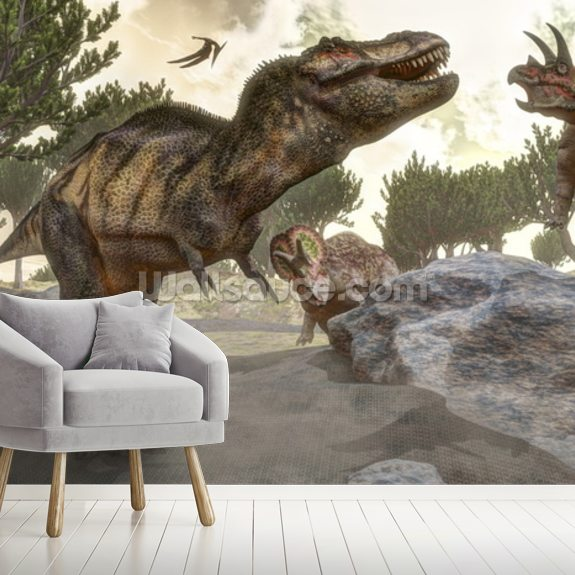 T-Rex escaping from Triceratops Attack wall mural room setting