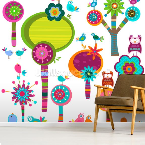 Cartoon Flowers mural wallpaper room setting
