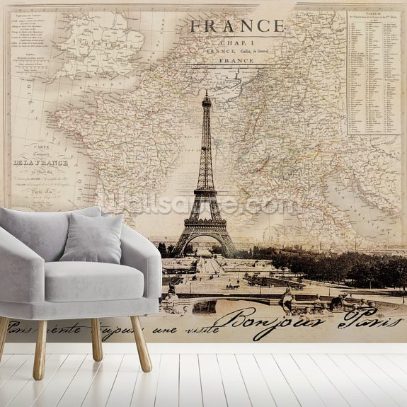 Bonjour Paris mural wallpaper room setting