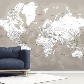 Coffee Brown World Map Wallpaper Wall Murals