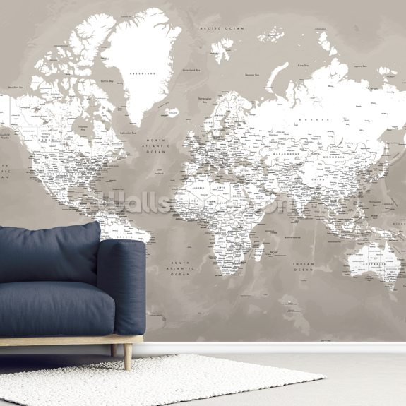 Coffee Brown World Map mural wallpaper room setting