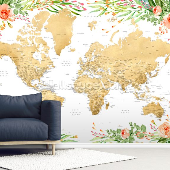 Floral Detailed World Map wall mural room setting