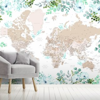 Floral Framed World Map Wallpaper Wall Murals