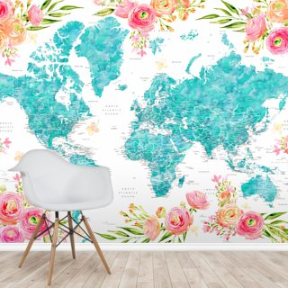 Bright Floral World Map