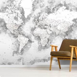 Grey Watercolour World Map Wallpaper Wall Murals