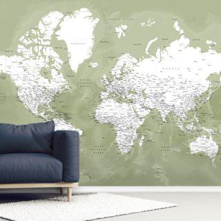 Sage Green World Map Wallpaper Wall Murals