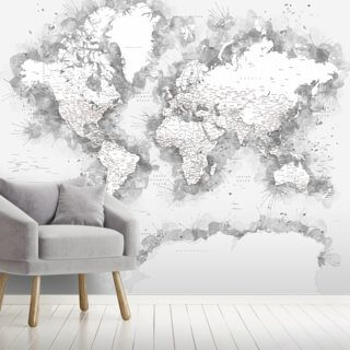 Grey Antarctic World Map Wallpaper Wall Murals