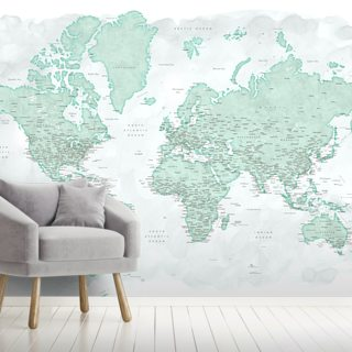 Mint World Map Wallpaper Wall Murals