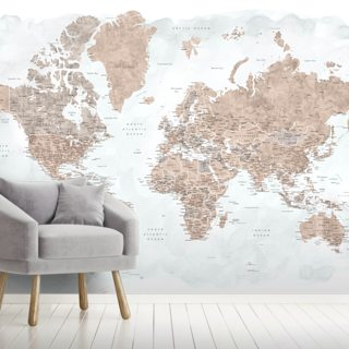 Neutral World Map Wallpaper Wall Murals