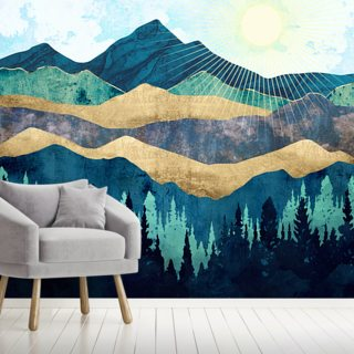 Blue Forest Wallpaper Wall Murals