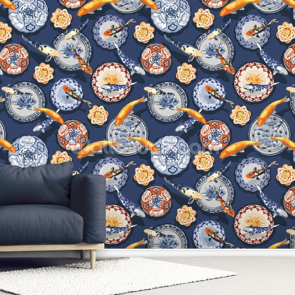 Dynasty Fishes and Dishes wallpaper mural room setting