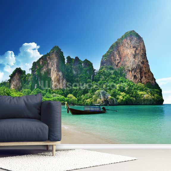 Beautiful Railay beach in Krabi wallpaper mural room setting