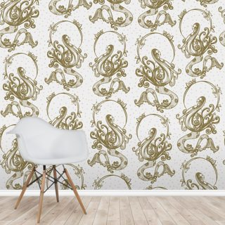 Mermaid Pattern White Wallpaper Wall Murals